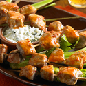 Buffalo Pork Skewers with Blue Cheese Sauce